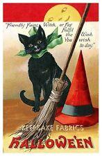 Black Cat Halloween Wishes Quilt Block Multi Sizes