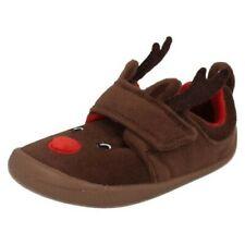 Infant Boys Girls Clarks Reindeer Hook & Loop Textile Slippers Shilo Jena