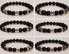 Natural Gemstone Lava Stone Onyx Zodiac Birthstone Bead Oil Diffuser Bracelet