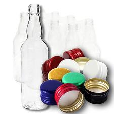 8x 500ml/ 0,5L Glass Vodka Bottles + Colour Screw Caps - for Strong Alcohols