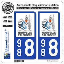 2 Autocollants plaque immatriculation 988 Nouvelle Calédonie Gouvernement