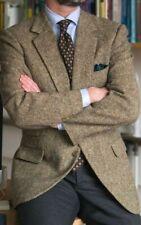 Brown Men Tweed Suit Jacket Black Pants Tuxedo Prom Party Dinner Formal Suit