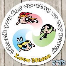 Powerpuff Girls 45mm 64mm Circle Rectangle Personalised Birthday Stickers S035
