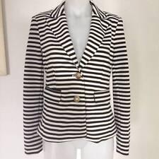 SALE QUEENSPARK Womens Black & White Striped Blazer Gold Buttons 10