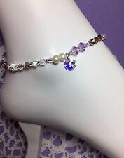 Handmade Purple Crystal Pearl Anklet/Ankle Bracelet W/Swarovski Elements USA