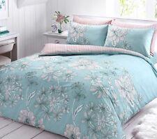 Vintage Linear Floral Duck Egg Reversible Duvet Quilts & Pillow Cover Set(109)