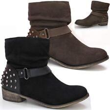 Ladies Womens Ankle Block Heel New Chelsea Riding Cowboy Biker Boots Shoes Size