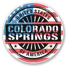 2 x 10cm Colorado Springs USA Vinyl Sticker Travel Luggage Flag Map Laptop #6071
