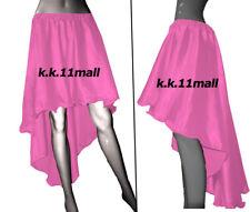 Satin asymmetrical Skirt Pink color High Low Skirt* Girls Sexy Dress Ruffle S6