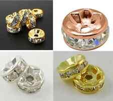 Metallperle Rondelle mit Strass Spacer Beads Zwischenperle Schmuckperle