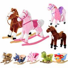 Kids Toy Rocking Horse Wood Plush Animal Wooden Riding Walking Wheel Gift Sound