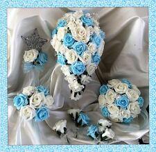 Flores Boda Marfil/Azul Aguamarina Ramo De Cristal Novia/Damas de honor/Ojales