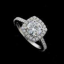 Double Halo Diamond Platinum 950 Engagement Ring Forever One Moissanite