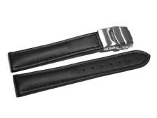 Uhrenarmband mit Faltschließe - Leder - glatt - schwarz - 18,20,22,24 mm