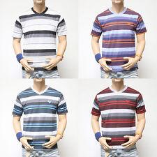 NWT Mens Short Sleeve V-Neck T-shirt Striped Design Summer S M L XL Casual
