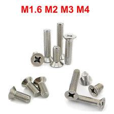 50X  Stainless M1.6 M2 M3 M4 Countersunk Flat Head Cross Miniature Screw Bolts