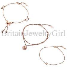 Fashion Stainless Steel Women Ladies Butterfly Flower Charm Link Bracelet Anklet