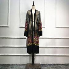 Tulle Net Embroidery Ethnic Vintage Dress Cardigan Outwear Women Muslim Abaya
