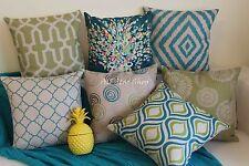 "Art Aque Green Geometrics Home Decor Cotton Linen CUSHION COVER PILLOW CASE 18"""