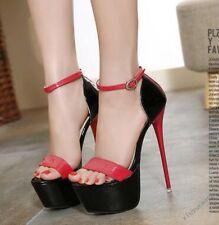 Womens Sexy Stiletto Super High Heels Open Toe Sandals Ankle Strap Shoes Plus SZ