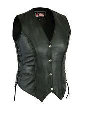 Ladies Real Leather Motorcycle Womens Waistcoat Vest Gilet Biker Sleeveless
