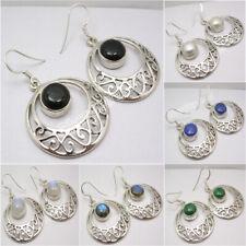 925 Silver Overlay Marquise Rainbow Moonstone Wholesale Celtique Boucles D/'oreilles 4.7 cm