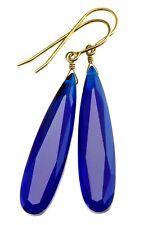 """Kashmire Blue Sim Sapphire Earrings Facet Long Teardrops Sterling 14k Gold 2"""""""