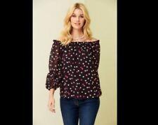 Bon Marche New Black Red White Spotted Polka Dot Chiffon Top Size 12 - 24