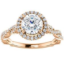G/SI 1.33ct Diamond Halo Interwoven Engagement Ring 14k Rose Gold Enhanced