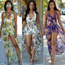 Women Sexy V Neck Sleevless Floral Print Short Jumpsuit Long Boho Maxi Dress NEW