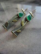 Retro 925Silver Emerald Ear Hook Dangle Drop Leaf Earrings Proposal Gift Wedding