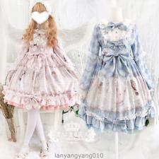 Sweet Lolita Cute Big Bowknot Japanese Ruffle Princess Long Sleeve OP Dresses