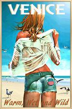 Venice Florida Beach Poster Pin Up Jeans Shorts Hot Girl Art Print 267