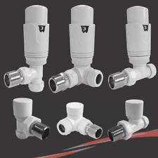 White Thermostatic TRV Radiator & Towel Rail Valves - Angled, Straight & Corner
