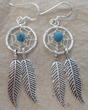 100% REAL 925 Sterling Silver Blue Turquoise Dream Catcher Long Earrings Women
