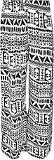 New Womens Plus Size Printed Palazzo Pants Wide Leg Aztec Trousers 16-26