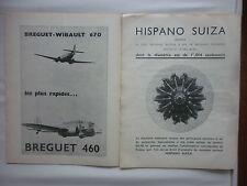 1936 PUB HISPANO-SUIZA MOTEURS AVIATION / BREGUET 460 BREGUET WIBAULT 670 AD