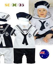 NEW kids Girl Boy Baby Navy Sailor marine Stripe Costume Party Romper + hat prop
