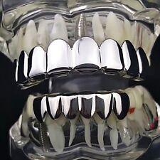 8/6 Best Grillz Set 8 Eight Top Six Bottom Teeth Shiny Silver Tone Combo Grills