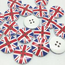 20 mm UNION JACK UK FLAG SEWING WOOD BUTTONS BRITISH PRESCHOOL NURSERY UNIFORM