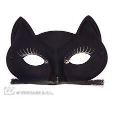 BLACK CAT EYEMASK W/ EYELASHES WHISKERS Feline Pussy Pet Animal Fancy Dress