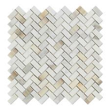 Calacatta Gold (Italian Calcutta) Marble Mini Herringbone Mosaic Tile