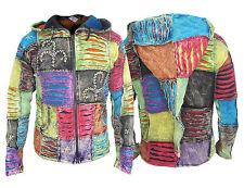 Chaqueta hippie hombre patchwork, de algodón con capucha estilo rasgada informal