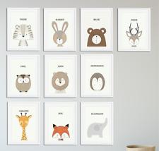 Nursery Animal Prints Peekaboo Nursery Prints Neutral Baby Bedroom Decor A4
