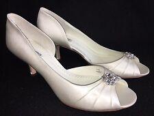 Benjamin Adams Celine White Satin Rhinestone Open Toe Kitten Heel Bridal Wedding