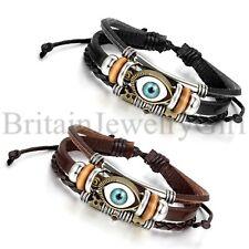 Fashion Men Women Retro Wrap Leather Evil Eye Studded Bracelet w/Drawstring Adj