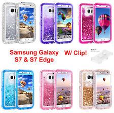 Samsung Galaxy S7 and S7 Edge Liquid Glitter Defender Case {Clip Fits Otterbox}