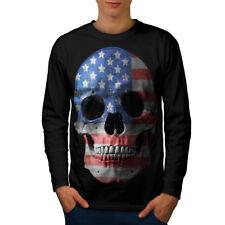TESCHIO BANDIERA AMERICANA USA Uomo Manica Lunga T-shirt Nuove | wellcoda