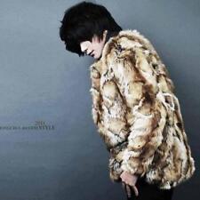 Men Round Neck Leopard Print Faux Fur Coat Slim Fit Long Fashion Outdoor Jacket