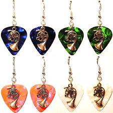 French Horn Music Charm Guitar Pick Earrings - Choose Color - Handmade in USA